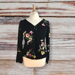 Anthropologie Floral Lace wrap top